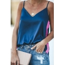 Womens Classic V-Neck Colorblocked Tape Panel Loose Cami Tank