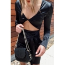 Womens Popular Solid Color Black Long Sleeve V-Neck Hollow Out Tied Waist Mini Party Dress