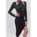 Womens Unique Plain Hollow Out Cross Halter Neck Long Sleeve Asymmetric Hem Midi Party Dress