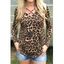 Womens Classic Leopard Print Crisscross Front Long Sleeve Regular Fit Brown T-Shirt