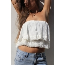Womens Sexy Plain White Strapless Layered Ruffle Cropped Bandeau Top