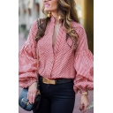 Red Plaid Pattern Balloon Long Sleeve Single Breasted Loose Shirt Blouse for Women