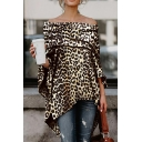 Womens Classic Leopard Pattern Foldover Off the Shoulder Long Sleeve Tunic Yellow Blouse T-Shirt