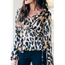 Womens Chic Yellow Leopard Print Bell Long Sleeve Tie Waist Wrap Blouse Top