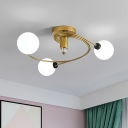 Gold Spiral Semi Flush Lighting Nordic 3/5 Lights Ceiling Flushmount with Orb Clear/Cream/White Glass Shade
