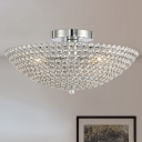 Clear K9 Crystal Bowl Semi Ceiling Flush Mount Contemporary Triple Light Chrome Close to Ceiling Light