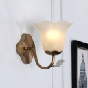 Flared Opal Glass Vanity Light Fixture Rustic 1 Light Dining Room Wall Mounted Lamp in Brass