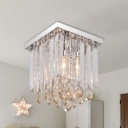 1/2-Light Clear Cubic Flush Lamp Simple Crystal Flush Mount Ceiling Fixture for Bedroom