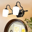 Classic Cup Shade Sconce Light 2/3/4 Lights White Glass Wall Mounted Lighting in Black