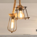 Black Wire Cage Suspension Light Farmhouse Style 2 Bulbs Metal and Rope Pendant Lighting with Different Shade