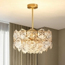 Hexagon Crystal Round Hanging Light Fixture Postmodern 8/9 Heads Gold Chandelier Light