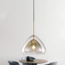 Double Glass Shade Tapered Pendant Lamp Contemporary 1 Light Champagne Hanging Light Fixture, 12