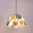 Tapered Hanging Lamp Modern Clear Glass 1 Head Living Room Pendant Light with Blue-Pink-Yellow Ceramic Flower Design