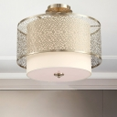 3 Bulbs Cylinder Flush Lamp with Metal Carved Shade Vintage Ceiling Flush Mount Light in Gold