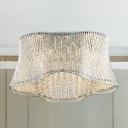 Ripple Flush Ceiling Lamp Clear K9 Crystal 7 Bulbs Art Deco Ceiling Light Fixture in Silver