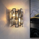Half Cylinder Wall Lamp Clear Crystal Block 2 Lights Contemporary Wall Mount Lamp in Black