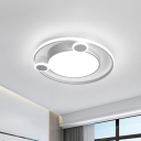Metallic Orbit Flush Lamp with Black/White Shade Integrated Led Nordic Ceiling Mounted Light, Warm/White Light