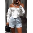 Puff Sleeved Off The Shoulder Ruched Sexy Crop Bardot Blouse Top in White
