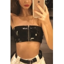 Cool Black Sleeveless Strapless Zip Front Leather Slim Crop Tube for Girls