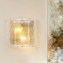 Contemporary Half-Cylinder Wall Sconce Clear Water Glass 2 Lights Indoor Wall Light Fixture in Gold Finish