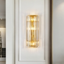 2/3-Heads Hallway Sconce Light Fixture Modern Gold Wall Lighting with Cylindrical Clear Crystal Shade