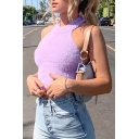 Elegant Purple Women's Sleeveless Halter Open Back Fluffy Slim Fit Crop Tank Top