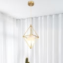 Brass Diamond Pendant Light Fixture Postmodern 1 Head Frosted Glass Suspension Light