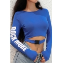 Blue Fashion Women's Long Sleeve Crew Neck Letter ROCK MORE Buckle Strap Cut Out Fitted Crop Tee
