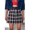 Cute Girls High Waisted Buckle Belt Zip Front and Side Plaid Print Short A-Line Skirt in Black