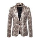 Mens Leisure Leopard Snake Skin Printed Long Sleeve One Button Slim Fit Party Suit Blazer