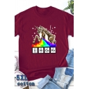 Spoof Cartoon Rainbow Unicorn Printed Short Sleeve Crew Neck Casual T-Shirt
