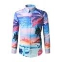 Hawaii Style Coconut Palm Beach 3D Print Long Sleeve Button Up Holiday Shirt