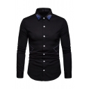 Mens Trendy Embroidery Turn-Down Collar Long Sleeve Button Up Leisure Shirt