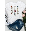Womens Popular Cartoon Flower Collage Pattern Short Sleeve White T-Shirt