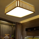 Wooden Square Flush Lighting Nordic Style 1 Light Led Ceiling Flush Lamp with Acrylic Diffuser