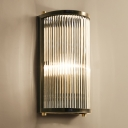 Brass/Black Finish Semi Cylindrical Wall Light Mid-Century Metal 1/2-Head Wall Mounted Light Fixture