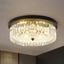 Black Finish Round Ceiling Lighting Crystal Modern Bedroom Flush Mount Lamp, 10