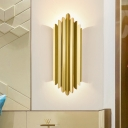 Gold Curly Tube Wall Mounted Lamp Modern Style Metallic 2 Heads Wall Lighting Fixture, 19.5