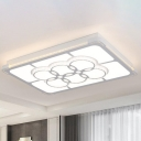 LED Rectangle Flush Light Fixture Modern Style White Crystal Ceiling Lamp for Living Room in 3 Color Light/Remote Control Stepless Dimming