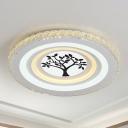 LED Crystal Flush Mount Lighting Fixture Simple White Tree/Mountain/Crane Living Room Close to Ceiling Light