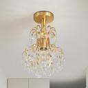 Brass Finish Geometric Semi Flush Ceiling Light Contemporary Metal and Crystal 1 Light Ceiling Light Fixture