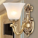 Traditional Bell Sconce White Glass 1/2 Heads Wall Mounted Lamp with Brass Carved Metal Arm