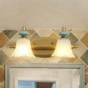 Wide Flared Vanity Lighting Contemporary Opal Glass 2/3 Heads Sconce Light Fixture with Brass Metal Curved Arm
