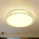 Crystal Disk Ceiling Light Fixture Minimalist White LED Flush Mounted Light for Bedroom