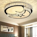 LED Flush Mount Modern Crystal Block White Ceiling Light with Moon and Star/Heart Acrylic Shade