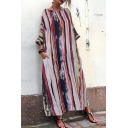 Fancy Girls' Three-Quarter Sleeve Round Neck Striped Patterned Maxi Oversized Bohemian Dresses