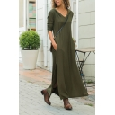 Casual Army Green Long Sleeve V-Neck Hooded High Cut Shift Maxi T-Shirt Dress for Ladies