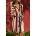 Fashion Ladies' Long Sleeve Lapel Collar Stripe Print Bow-Tie Waist Button Down Slit Side Asymmetric Shift Short Shirt Dress