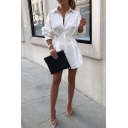 Fashion Long Sleeve Lapel Collar Button Down Plain Pleated Mini A-Line Shirt Dress for Women