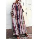 Ethnic Female Three-Quarter Sleeve Round Neck Stripe Printed Maxi Oversize Swing Dress